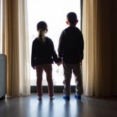 kids looking out door