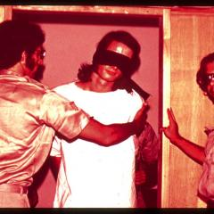 Guards with a blindfolded prisoner in the Stanford Prison Experiment, 1971. (photo source: PrisonExp.org)